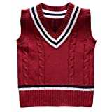 Image of Happy Cherry Children Sweater Vest V-neck Cable Knit School Uniforms Red 5T
