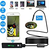 Wifi Endoscope Inspection Camera, Prostormer 2.0 MP 1200P HD IP68 Waterproof Wireless Borescope Camera in Soft Cable for Android, IOS and Windows System, iPhone, Samsung, Macbook, Tablet (6.5FT)