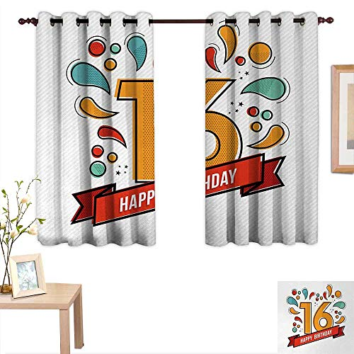 Joydad 16th Birthday Waterproof Window Curtain Festive New Age Modern Party Invitation Funky Teenage Typography Artwork 63