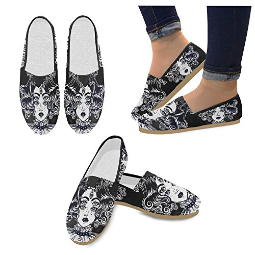 InterestPrint Fashion Painted Witch Girl Slip-on Women's Casual Canvas Flat Shoes (004)