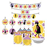 Ready to Pop Baby Shower Party. Boy / Girl Baby Shower Party Decorations. Includes Party Games, Centerpieces, Bunting Banner, Danglers and Cupcake Toppers. (Purple, Yellow)