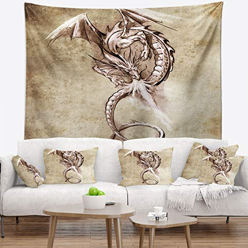 Designart TAP7811-32-39 ' Fantasy Dragon Tattoo Sketch' Abstract Blanket Décor Art for Home and Office Wall Tapestry Medium: 32 in. x 39 in. Created On Lightweight Polyester Fabric