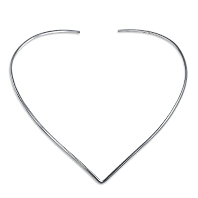 a12399940a2e8 Image Unavailable. Image not available for. Color  Basic Simple Slider  Choker V Shape Collar Necklace For Women Flat Polished 925 Silver Sterling  Add