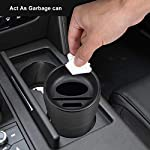 Jevogh Car Garbage Bin, GR28 Mini Car Trash Can Car Ashtray Rubbish Container Waste Storage with Card Holder Coin Cup…