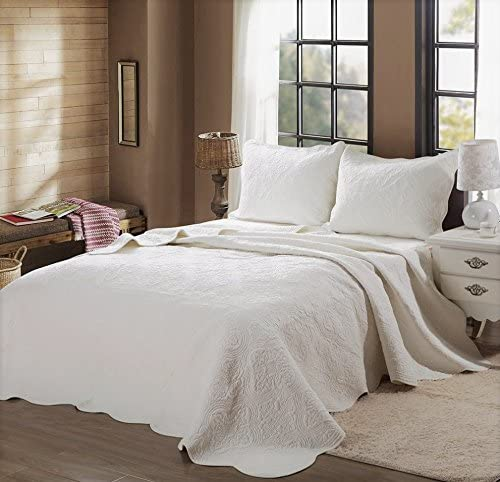 Cozy Line Home Fashions Victorian Medallion Solid Ivory Matelasse Embossed 100 Cotton Bedding Quilt Set Coverlet For Bedroom Guest Room Blantyre Ivory Queen 3 Piece Home Kitchen