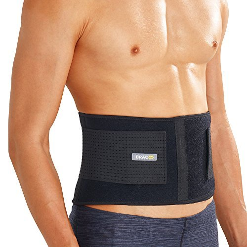 Bracoo Back Lumbar Brace, Abdominal Support Belt for Strains, Sprains and Pain Relief - Adjustable Straps, Lightweight & Flexible, BS31 (S/M (28 - 42), Black)