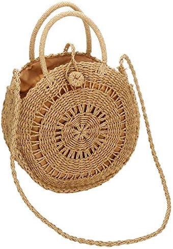 カゴバッグ 編み込みバッグ サークルかごバッグ ストローバッグ 草編みバッグ ハンドバッグ 編みバッグ 丸型 肩掛け 斜めがけ2way 手作り 旅行用 おしゃれ 夏