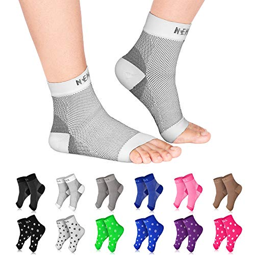NEWZILL Plantar Fasciitis Socks with Arch Support, Best 24/7 Foot Care Compression Sleeve, Eases Swelling & Heel Spurs, Ankle Brace Support, Increases Circulation (L/XL, White)