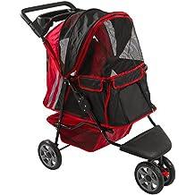 Red and Black Zephyr 3-Wheel Pet Jogging Stroller