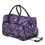 Ricardo Beverly Hills Mar Vista 2 Wheel City Rolling Duffel, Purple Paisley