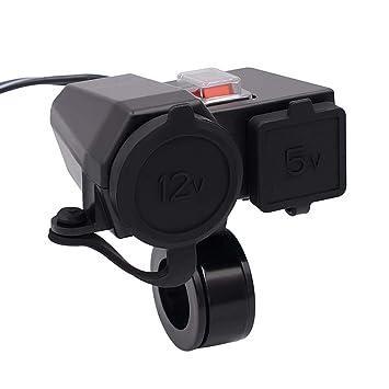 Neu Dual USB Motorrad Lenker Ladegerät Steckdose Schalter Wasserhahn /&Schnalle