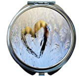 Rikki Knight Heart Drawing On Icy Winter Window Design Round Compact Mirror