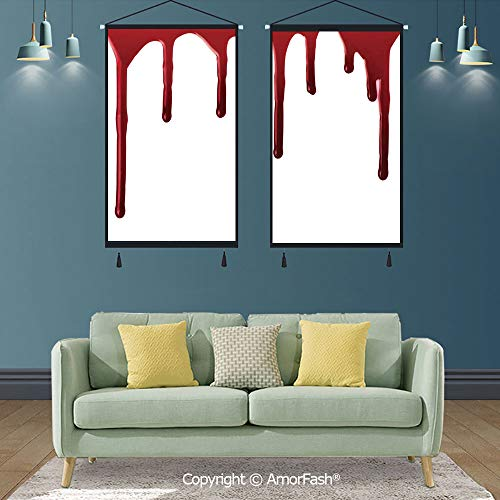 SCOXIXI Horror,2 PCS Print Artwork Wall Art Decor Artworks,for Homes Canvas Prints Pictures Wall,Flowing Blood Horror Spooky Halloween Zombie Crime Scary Help me Themed Illustration -