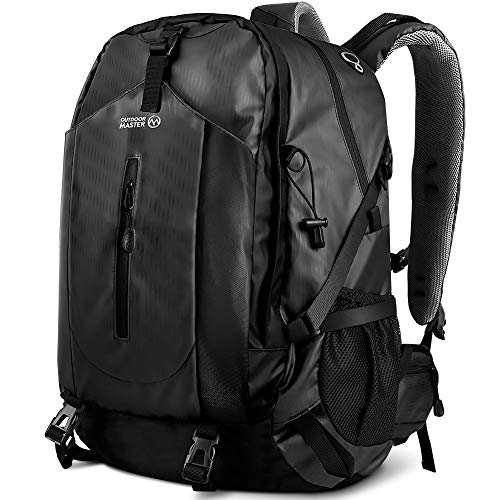 OutdoorMaster Hiking Backpack 50L - w/ Waterproof Cover - Black - UPGRADED