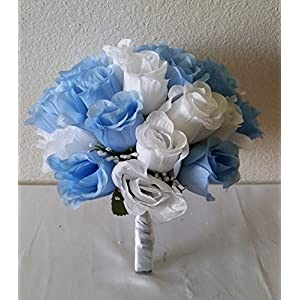 Light Blue White Rose Bud Bridal Wedding Bouquet & Boutonniere 78
