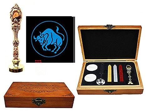 MNYR - Juego de 12 sellos de cera para sellar sellos de madera de oro rosa