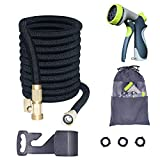 Bucham Expandable Garden Hose(100FT), Flexible Water Hose for Outdoor Gardening Yard with 8 Pattern Spray Nozzle,3 Layer Latex Inner Tube+3/4 Solid Brass Connectors