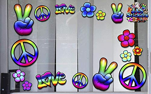 ST007/_1 JAS Stickers/® Rainbow HIPPIE PEACE FUNNY Car Decal Love FLOWER Party Small Vinyl Bumper Sticker Pack for Laptop Bicycles Jetski Caravan