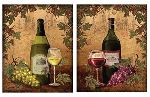 2 Vintage Tuscan White And Red Wine Bottle And Grape Set Two 11x14 Poster Prints