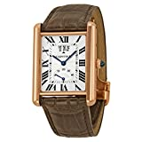 Cartier Tank Louis Silver Dial 18k Rose Gold Brown Leather Mechanical Mens Watch W1560003