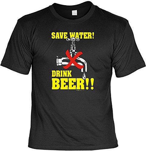 T-Shirt mit Urkunde - Save Water - Drink Beer - lustiges Sprüche Shirt als Geschenk für Leute mit Humor - NEU mit gratis Zertifikat!