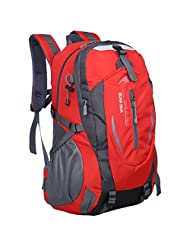 Cozy Age Outdoor Backpack Hiking Backpack Climbing Canvas Backpack Waterproof Travel Bags,One Size,Red