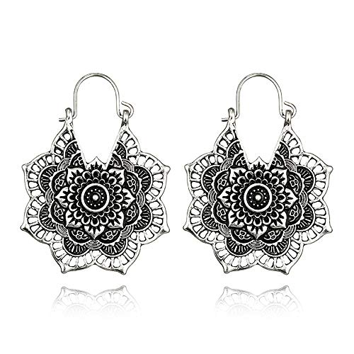 Bracet Vintage Gypsy Hammered Antique Silver Lotus Flower Hoop Earrings for Women (Silver) Antique Style Silver Earrings
