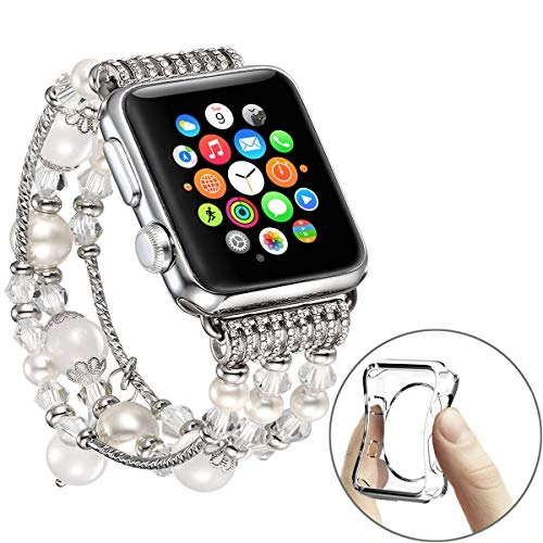 fastgo Compatible for Apple Watch Band 42mm 44mm, Bling White Elastic Stretchy for Iwatch Bands 42mm Womens Girls Compatible for Apple Watch Dressy Band Bracelet(White-42mm 44mm)