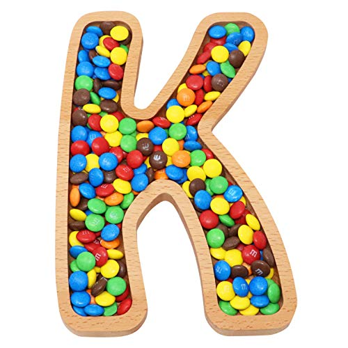 Wooden Letter K Candy Dish, Monogram Nut Bowl, Snack, Cookie, Cracker Serving Plate, Decorative Display, Home Accessory, Unique Gift Idea, for Date, Baby Shower, Birthday Party, Large Size
