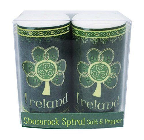 Shamrock Spiral Ireland Salt & Pepper Shaker With A Green And Yellow Celtic Design