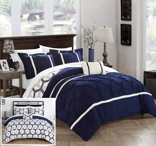 Chic Home 3 Piece Marcia Pinch Pleated Ruffled and Reversible Geometric Design Printed Twin Comforter Set Navy (Set Twin Printed)