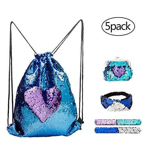 5PCS Sequin Bag,Sequin Drawstring Bag, Mermaid Reversible Slap