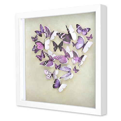 "- Green Frog 3D Purple Butterfly Shadow Box Art 14"" x 14"" x 1"" Quality Plastic Frame, Plexiglass, Paper Cut Out Butterflies Girls/Kids Bedroom Wall Art"