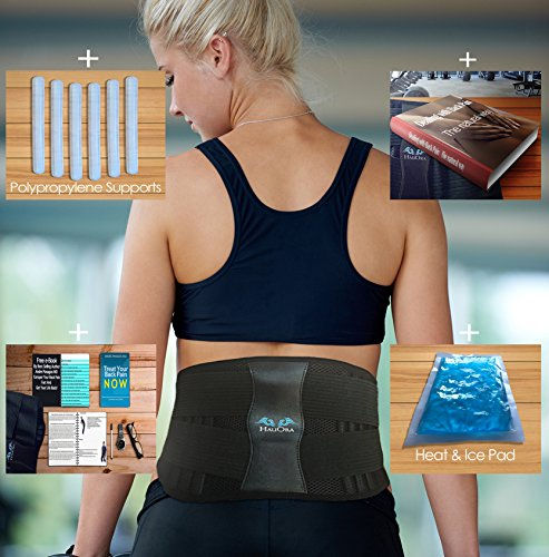 Lumbar Support Belt - Lower Back Brace - Heat & Ice Pack Included For Instant Pain Relief - Adjustable Compression To Suit Your Body - Wear It Everywhere - Gym Office Home - FDA Approved (Hot Bodies Honda)