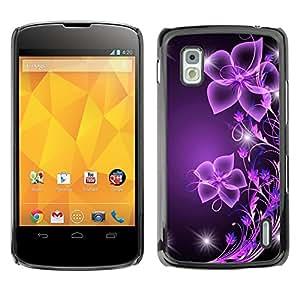 Design for Girls Plastic Cover Case FOR LG Nexus 4 E960 Purple Black Bling Glitter OBBA