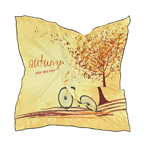(Silk Scarf Autumn Tree With Bike Square Headscarf 23 x 23 inches for Women)