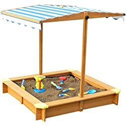 Merry Garden Sandbox with Canopy, Natural Stain