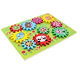 Homyl Wooden Gear Toy Forest Animal Theme Board, Kids Early Engineering Educational Toy Set Birthday Gift