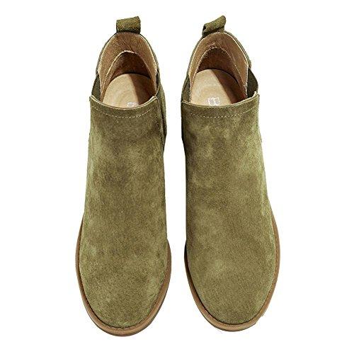 caliente comodidad tacón ARMYGREEN wdjjjnnnv 39 Señoras 40 zapatos botas de elástica tobillo Casual corto piel KHAKI S8qawU1x