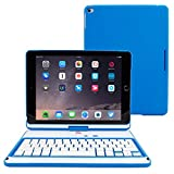"iPad Air and New iPad 2017 9.7"" Keyboard, Snugg [Blue] Wireless Bluetooth Keyboard Case Cover [Lifetime Guarantee] 360° degree Rotatable Keyboard for Apple iPad Air and New iPad 2017 9.7"""