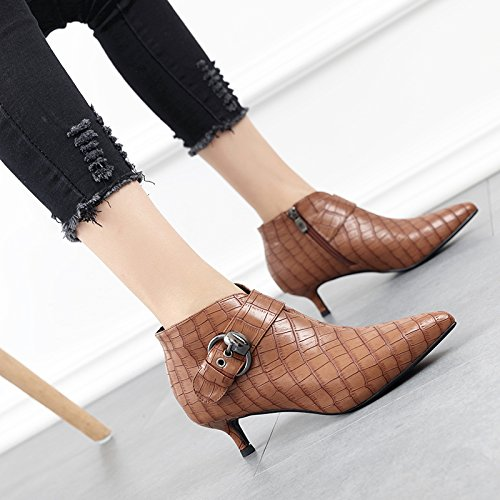 Ajunr New/Fashion/Work/High-Heel/Women Sandals Short boots with small pointed fine with Martin with shoes boots and all-match autumn and winter women 3CM 38 U2QIqu