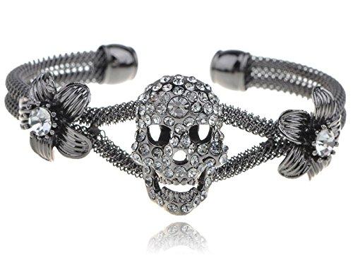 Meenanoom Gun Metal Blk Gry Crystal Rhines Skull Flower Mesh Chic - Crystal Gry