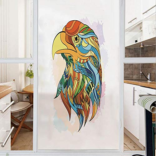 Decorative Window Film,No Glue Frosted Privacy Film,Stained Glass Door Film,Ethnic Inspired Bald Eagle Pattern with Oriental Color Scheme Flying Animal Design Decorative,for Home & Office,23.6In. by 5 (Bald Stained Eagle Glass)