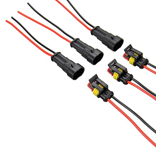 Diageng 5 Kit 2 Pin Way Car Waterproof Electrical Connector Plug with Wire AWG Marine Black with black and red cables