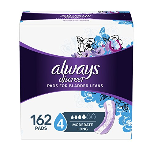 Always Discreet Incontinence Pads for Women, Moderate Absorbency, Long Length, 54 Count - Pack of 3 (162 Total Count) (Packaging May Vary) -
