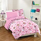 Charming, Convenient and Stylish Dream Factory Tippy Toes Ballerina Bed in a Bag with Sheet Set, Pink with White Polka Dots and Rose Buds, Twin