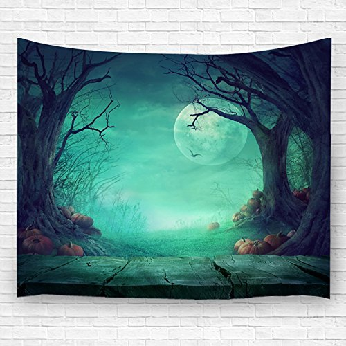 Halloween Pumpkins Tapestry Witch Haunted Castle Halloween Tapestry Blanket Black Cat Bats Ghost Spider Web Tapestries Scary Forest Graveyard Tapestry Wall Hanging For Halloween Party Decoration Decor ()