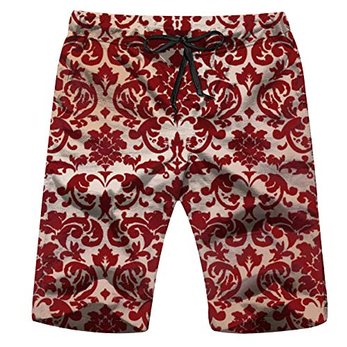 Vintage Damasks Clip Art Mens Beach Pants 3D Printed Casual Fashion Adjustable Beach Board Shorts L