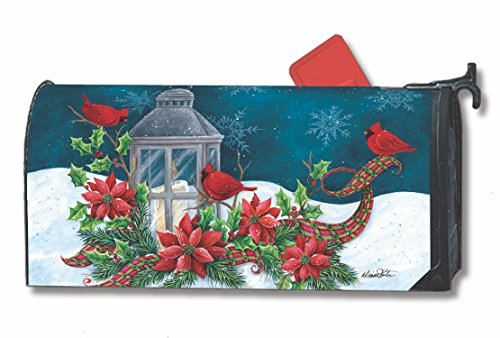 Cardinal Christmas Large Mailbox Cover Lantern Holiday Birds Oversized MailWraps