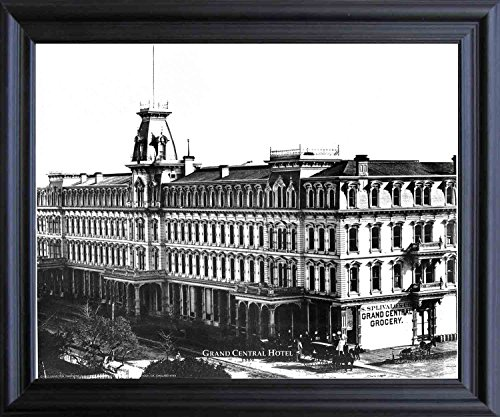 Impact Posters Gallery Framed Wall Decor Oakland Grand Central Hotel 1889 Vintage Old City Black and White Black Art Print Picture (19x23)